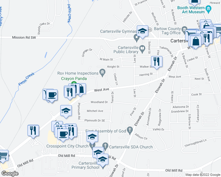map of restaurants, bars, coffee shops, grocery stores, and more near 799-835 West Avenue in Cartersville