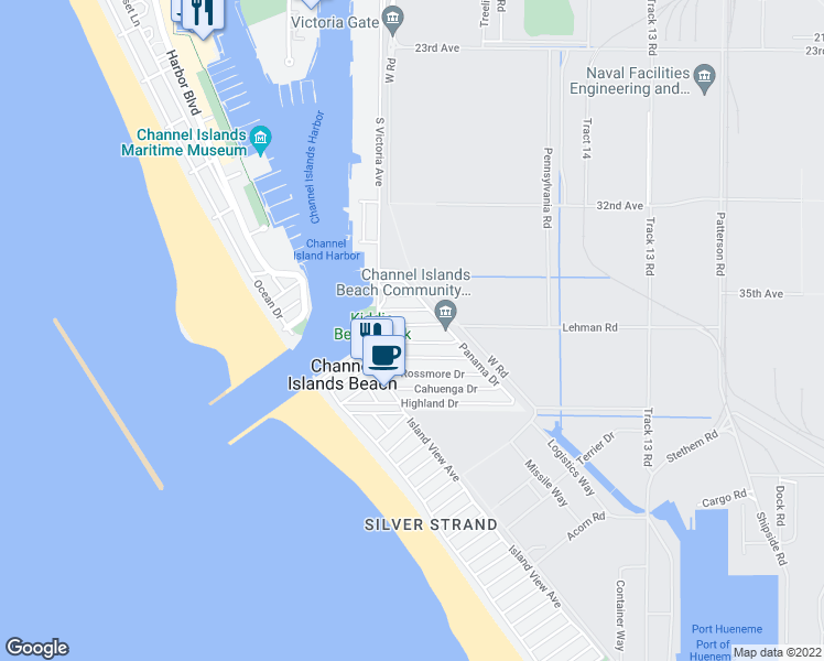 map of restaurants, bars, coffee shops, grocery stores, and more near 310 Hollywood Boulevard in Oxnard