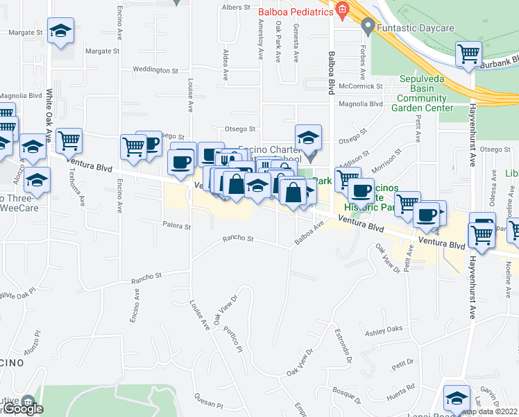 map of restaurants, bars, coffee shops, grocery stores, and more near 17058 W Oak Park Ct in Los Angeles