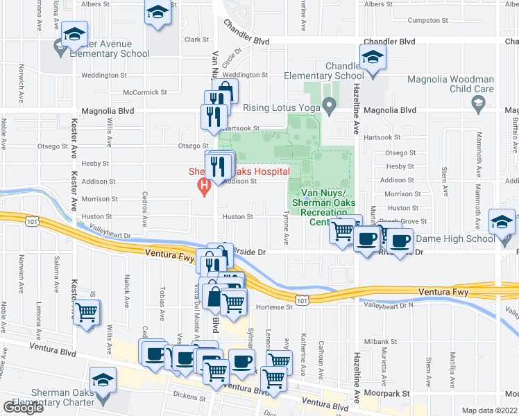 map of restaurants, bars, coffee shops, grocery stores, and more near 14355 Huston Street in Los Angeles