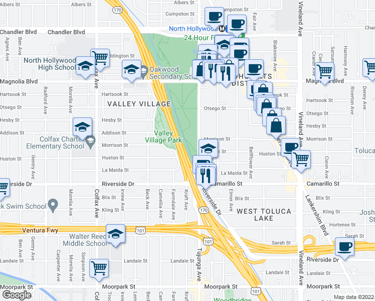 map of restaurants, bars, coffee shops, grocery stores, and more near in N HOLLYWOOD