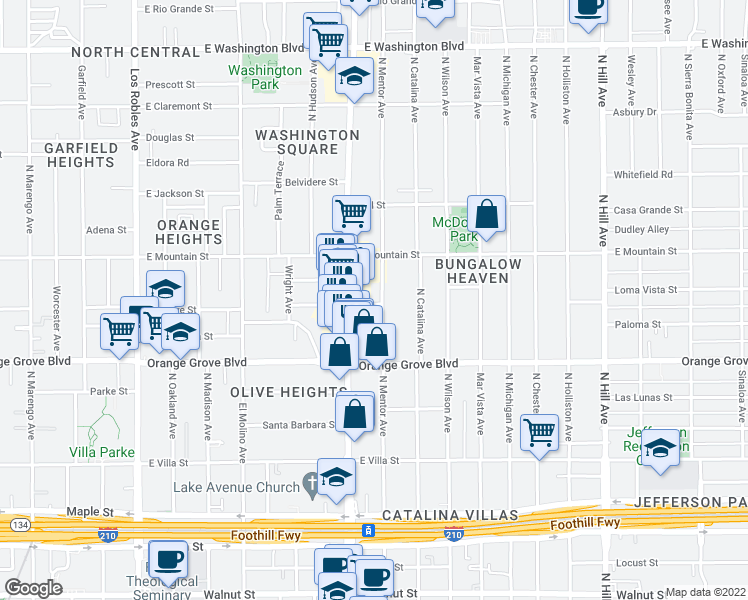 map of restaurants, bars, coffee shops, grocery stores, and more near 815 North Mentor Avenue in Pasadena