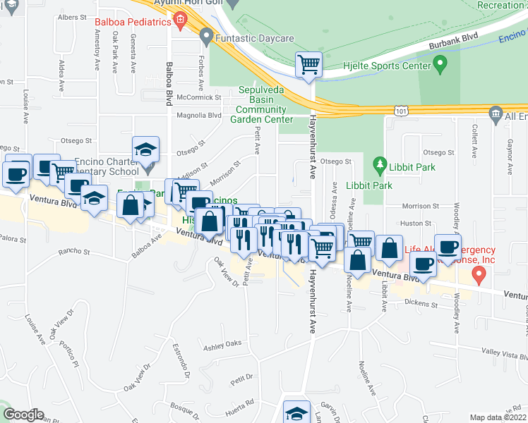 map of restaurants, bars, coffee shops, grocery stores, and more near 4914 Petit Avenue in Los Angeles