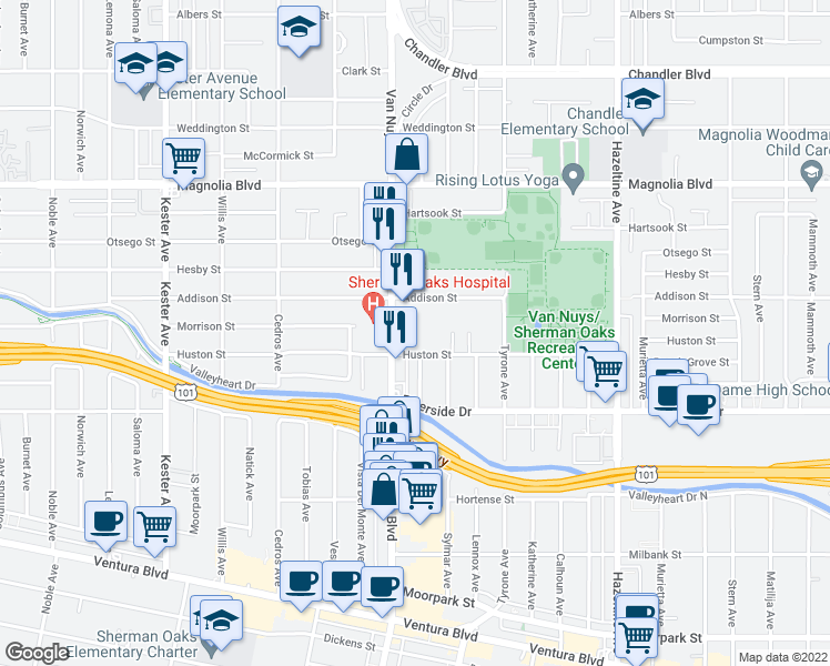 map of restaurants, bars, coffee shops, grocery stores, and more near 4920 Van Nuys Boulevard in Los Angeles