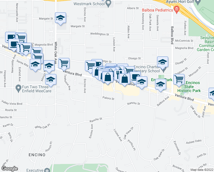 map of restaurants, bars, coffee shops, grocery stores, and more near 17320 Ventura Boulevard in Los Angeles
