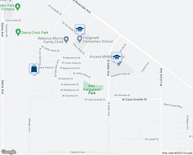 map of restaurants, bars, coffee shops, grocery stores, and more near 2388 West Calle Vista Drive in Rialto