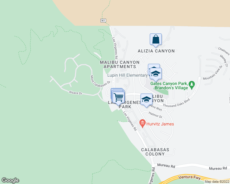 map of restaurants, bars, coffee shops, grocery stores, and more near 5736 County Highway N1 in Calabasas
