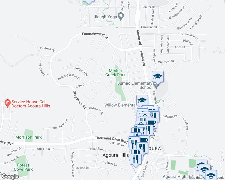 map of restaurants, bars, coffee shops, grocery stores, and more near 29219 Laro Drive in Agoura Hills