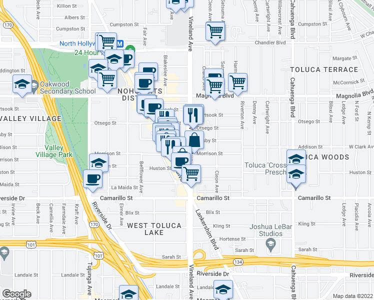 map of restaurants, bars, coffee shops, grocery stores, and more near 11001 Morrison Street in Los Angeles