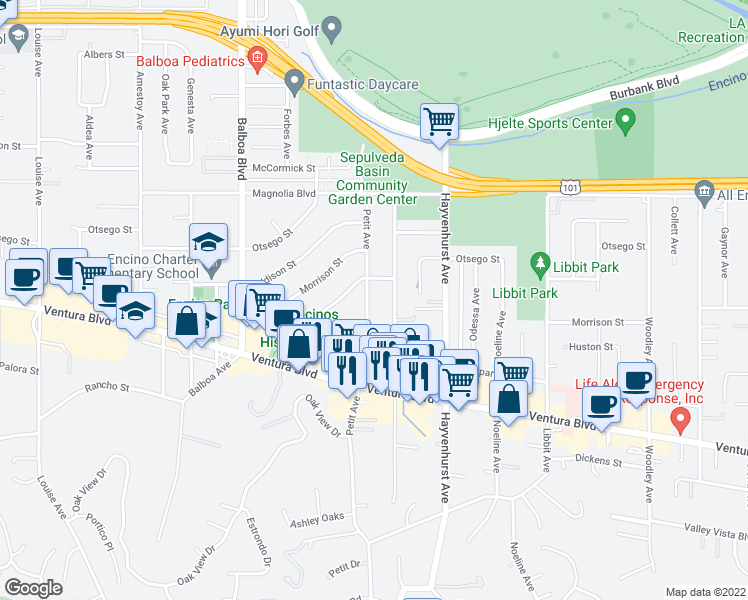 map of restaurants, bars, coffee shops, grocery stores, and more near 4954 Petit Avenue in Los Angeles