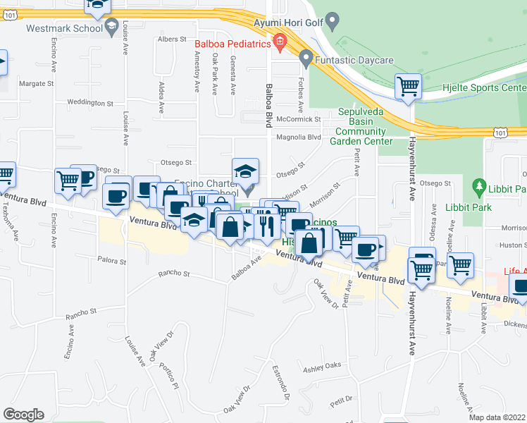 map of restaurants, bars, coffee shops, grocery stores, and more near 4940 Paso Robles Avenue in Los Angeles