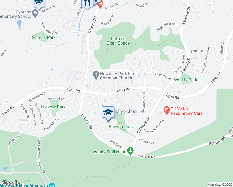 map of restaurants, bars, coffee shops, grocery stores, and more near 937 South Pons Court in Thousand Oaks
