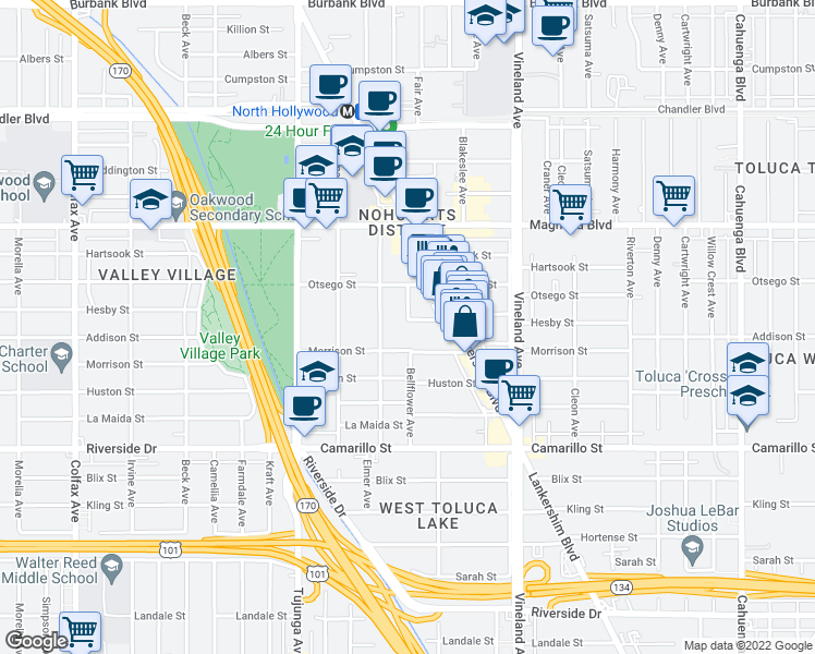 map of restaurants, bars, coffee shops, grocery stores, and more near 5031 Fair Avenue in Los Angeles