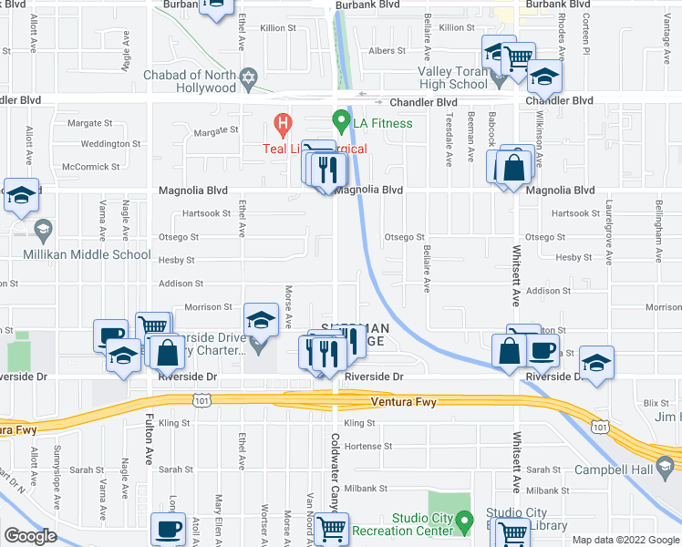 map of restaurants, bars, coffee shops, grocery stores, and more near 5000 Coldwater Canyon Avenue in Los Angeles