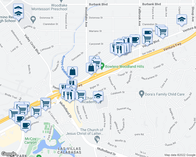 map of restaurants, bars, coffee shops, grocery stores, and more near Woodlake Avenue in Los Angeles