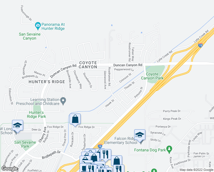 map of restaurants, bars, coffee shops, grocery stores, and more near 5055 Glenwood Avenue in Fontana