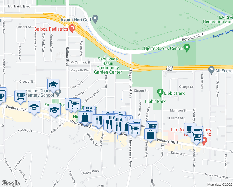 map of restaurants, bars, coffee shops, grocery stores, and more near 5034 Rubio Avenue in Los Angeles