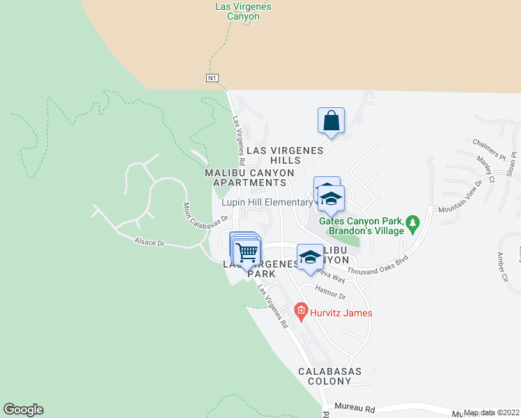 map of restaurants, bars, coffee shops, grocery stores, and more near 5758 Las Virgenes Road in Calabasas