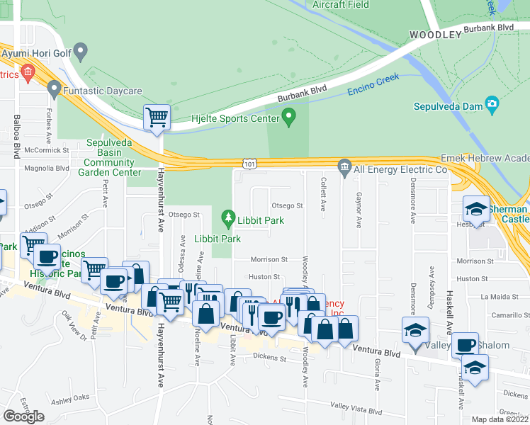 map of restaurants, bars, coffee shops, grocery stores, and more near 5125 Valjean Avenue in Los Angeles