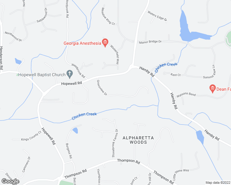 map of restaurants, bars, coffee shops, grocery stores, and more near 2600 Grassview Drive in Alpharetta