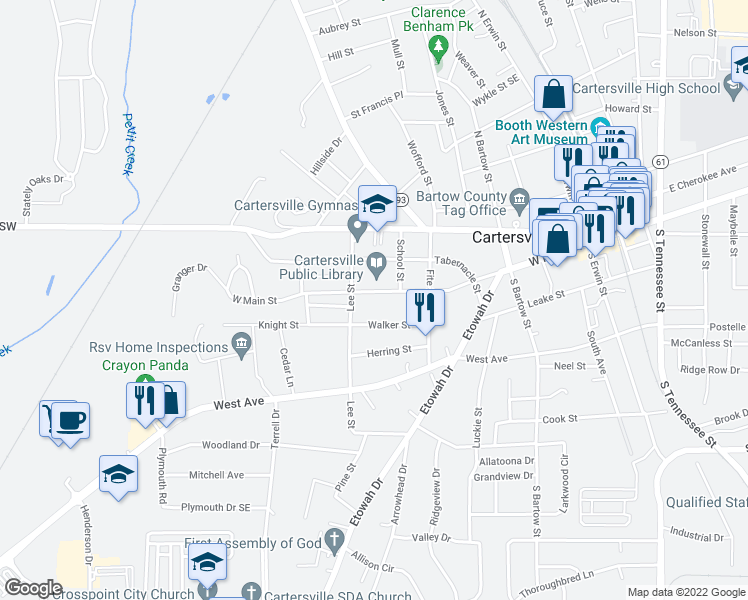 map of restaurants, bars, coffee shops, grocery stores, and more near 430 West Main Street in Cartersville