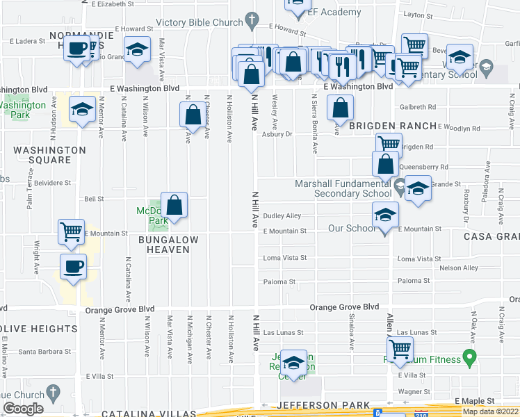map of restaurants, bars, coffee shops, grocery stores, and more near 1414 Casa Grande Street in Pasadena