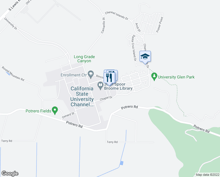 map of restaurants, bars, coffee shops, grocery stores, and more near 45 Rincon Drive in Camarillo