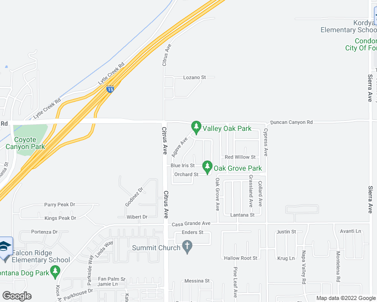 map of restaurants, bars, coffee shops, grocery stores, and more near River Ash Way in Fontana
