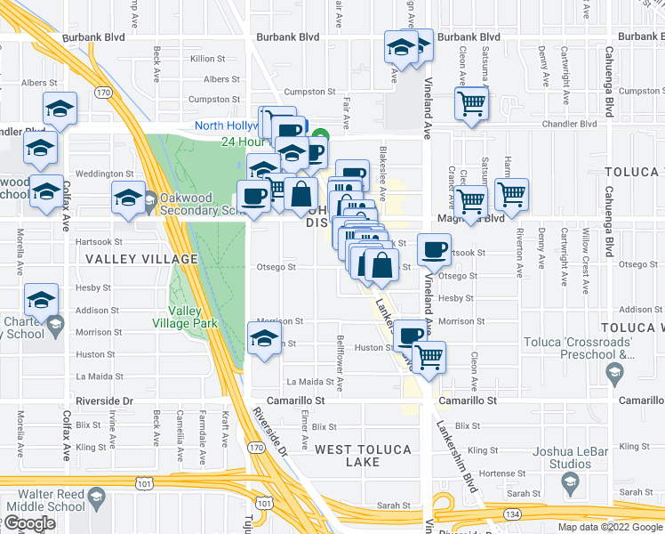 map of restaurants, bars, coffee shops, grocery stores, and more near 5058 Klump Avenue in Los Angeles