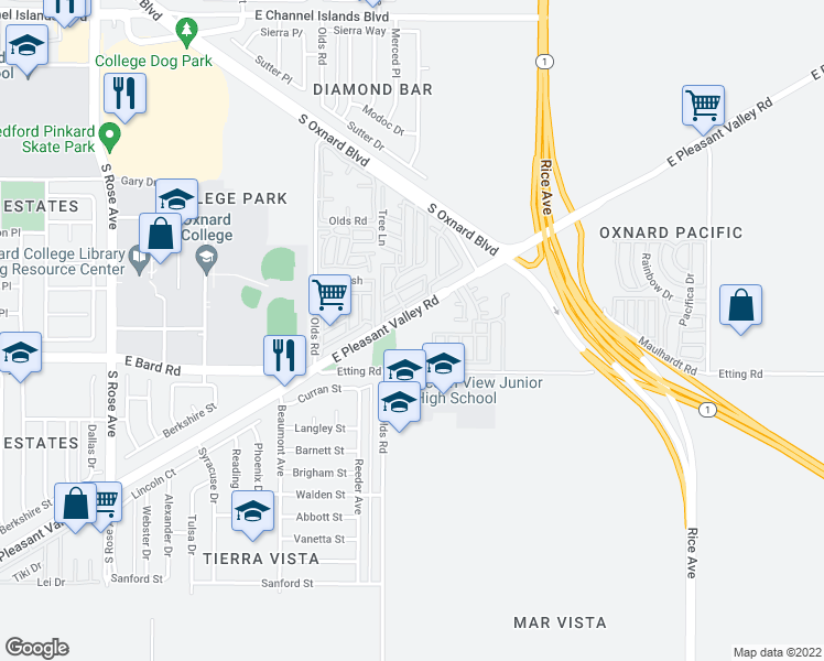 map of restaurants, bars, coffee shops, grocery stores, and more near 2250 East Pleasant Valley Road in Oxnard