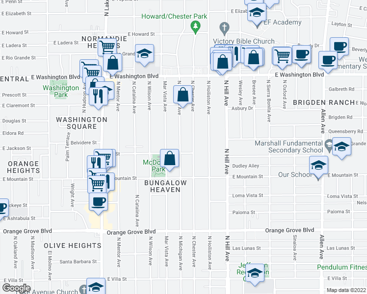 map of restaurants, bars, coffee shops, grocery stores, and more near 1040 North Michigan Avenue in Pasadena
