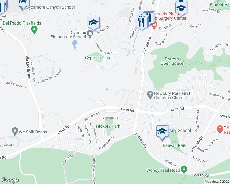 map of restaurants, bars, coffee shops, grocery stores, and more near 849 Paseo De Leon in Thousand Oaks