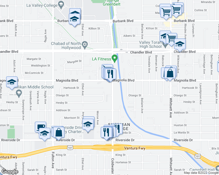 map of restaurants, bars, coffee shops, grocery stores, and more near 12930 Magnolia Boulevard in Los Angeles