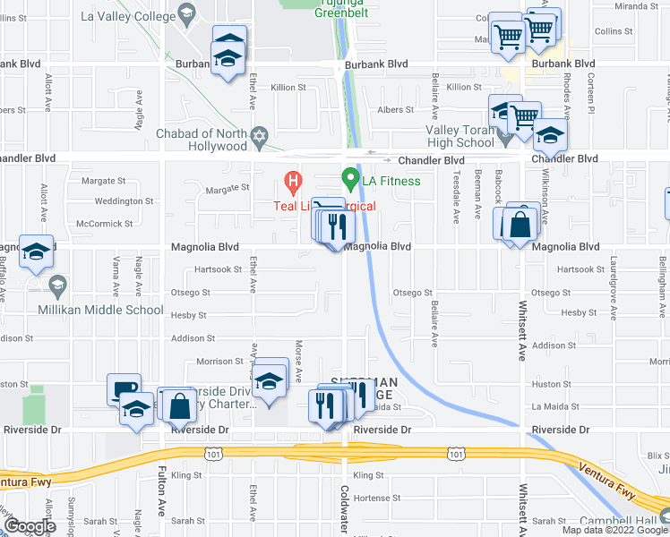 map of restaurants, bars, coffee shops, grocery stores, and more near 5135 Coldwater Canyon Avenue in Los Angeles