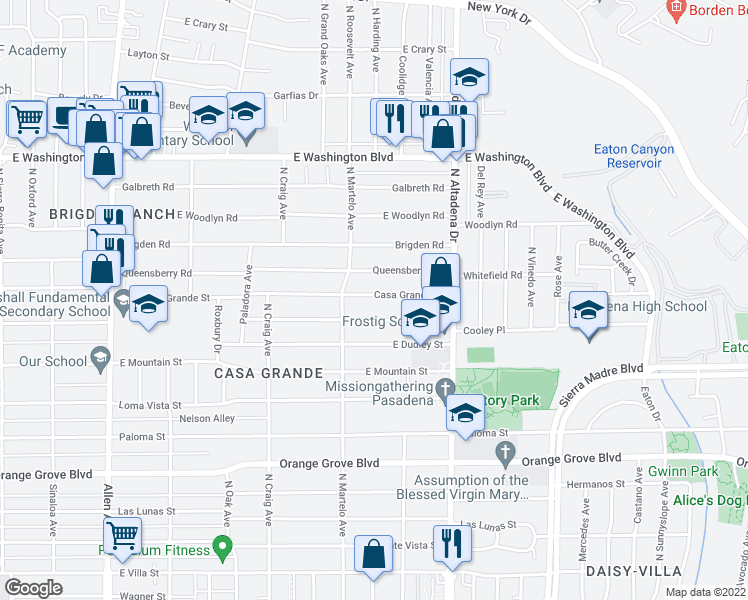 map of restaurants, bars, coffee shops, grocery stores, and more near 2360 Casa Grande Street in Pasadena