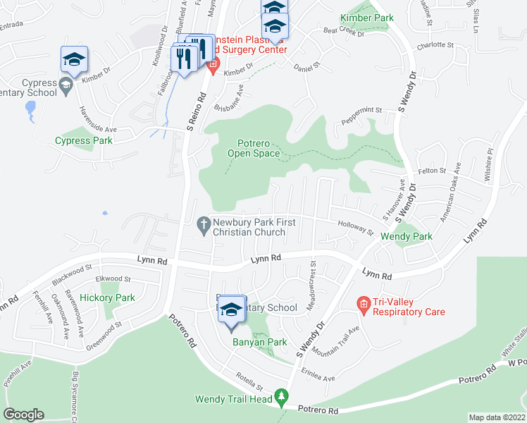 map of restaurants, bars, coffee shops, grocery stores, and more near 798 Longford Avenue in Thousand Oaks
