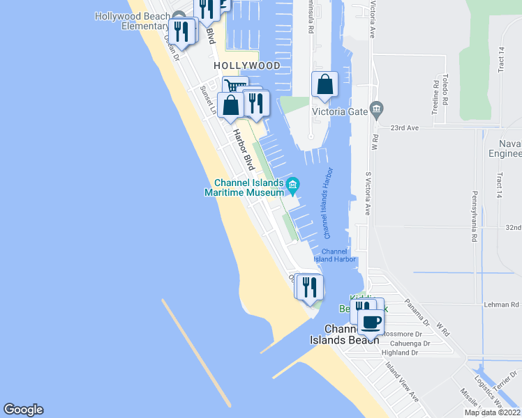 map of restaurants, bars, coffee shops, grocery stores, and more near 3449 Sunset Lane in Oxnard