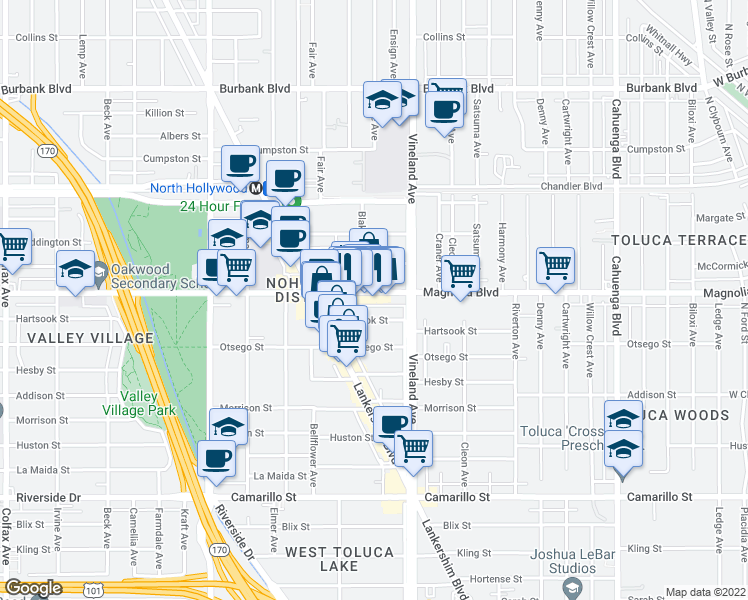 map of restaurants, bars, coffee shops, grocery stores, and more near 11040 West Magnolia Boulevard in Los Angeles