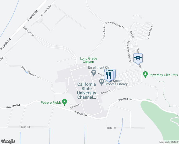 map of restaurants, bars, coffee shops, grocery stores, and more near 16 Camarillo Street in Camarillo