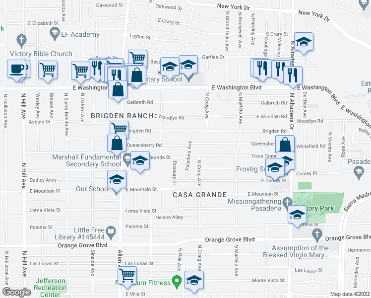 map of restaurants, bars, coffee shops, grocery stores, and more near 2080 Queensberry Road in Pasadena