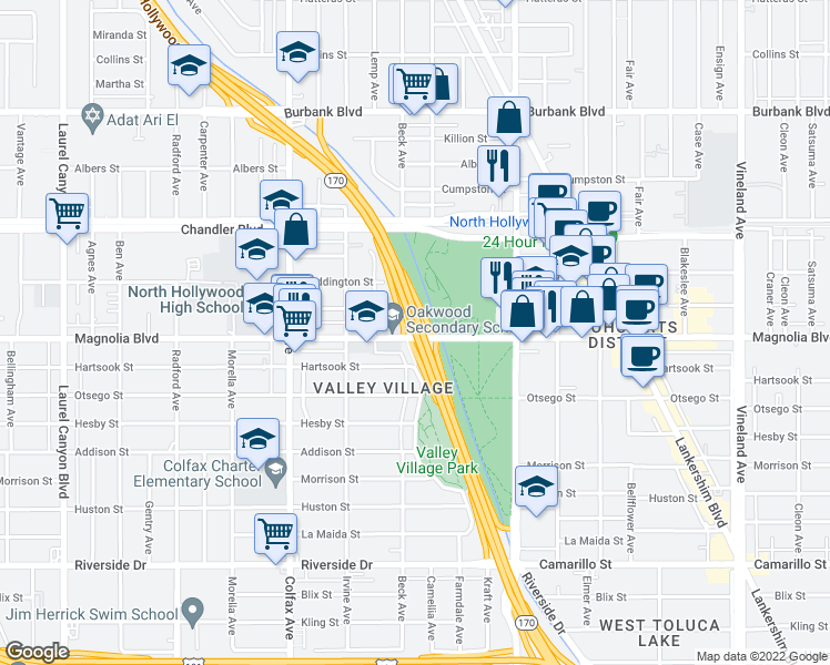 map of restaurants, bars, coffee shops, grocery stores, and more near Hollywood Freeway in Los Angeles