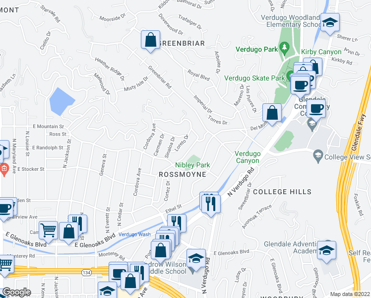 map of restaurants, bars, coffee shops, grocery stores, and more near 1329 Rossmoyne Avenue in Glendale