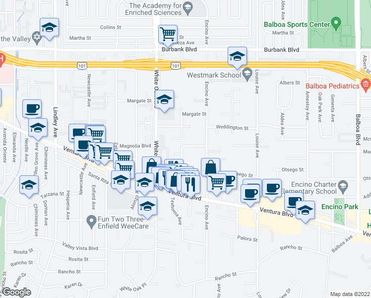 map of restaurants, bars, coffee shops, grocery stores, and more near 5150 Shoshone Avenue in Los Angeles