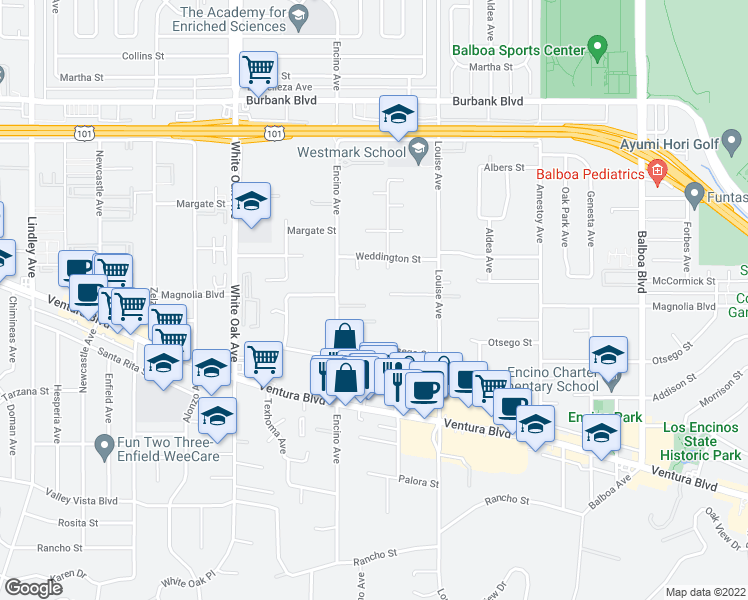 map of restaurants, bars, coffee shops, grocery stores, and more near 17414 Magnolia Boulevard in Encino