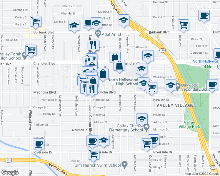 map of restaurants, bars, coffee shops, grocery stores, and more near 11933 Magnolia Boulevard in Los Angeles