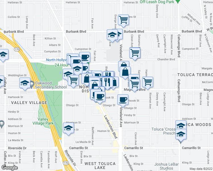 map of restaurants, bars, coffee shops, grocery stores, and more near 5225-5237 Blakeslee Avenue in Los Angeles