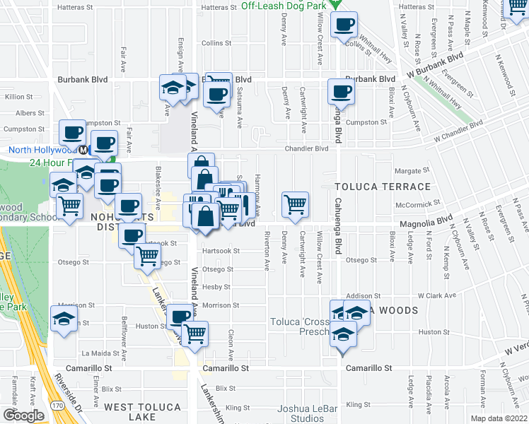 map of restaurants, bars, coffee shops, grocery stores, and more near 5219 Harmony Avenue in Los Angeles