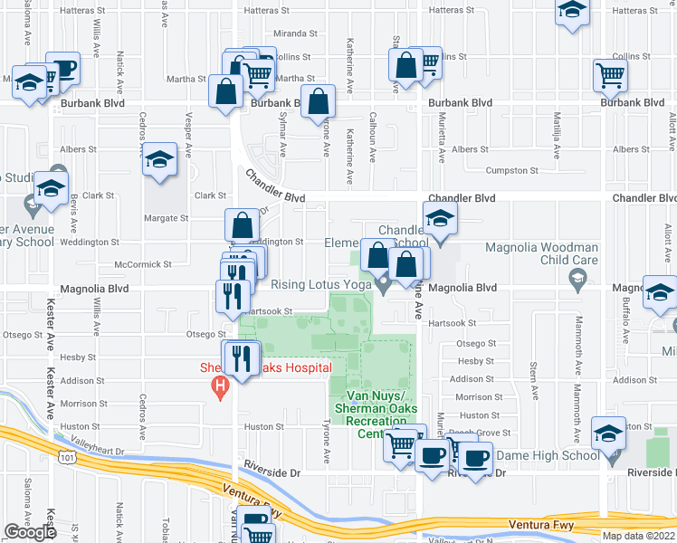 map of restaurants, bars, coffee shops, grocery stores, and more near 14250 McCormick Street in Sherman Oaks