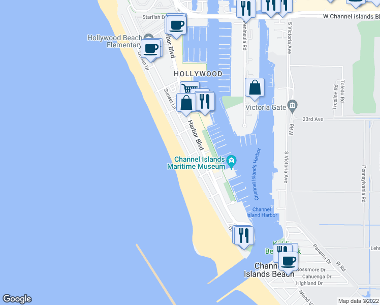 map of restaurants, bars, coffee shops, grocery stores, and more near 3600 Ocean Drive in Oxnard