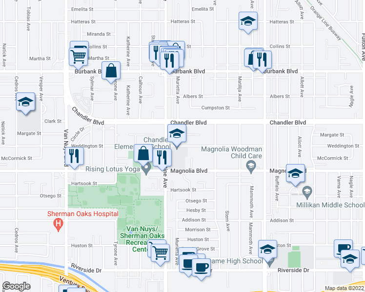 map of restaurants, bars, coffee shops, grocery stores, and more near 14015 Weddington Street in Los Angeles
